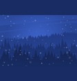 forest at night sky night christmas landscape vector image