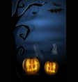 halloween landscape with pumkins ghost and vector image