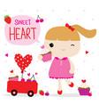 love valentine girl cute cartoon character vector image