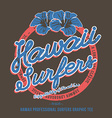 Surfing t-shirt print Hibiscus Flower vector image