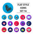 tattoo studio set icons in flat style big vector image