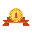 first place gold medal and ribbon isolated vector image vector image