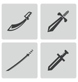 black sword icons set vector image