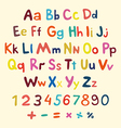 Hand-drawn alphabet art children vintage vector image