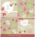 christmas vintage set vector image