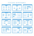 features wireframe components for prototypes vector image