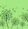 green background with stylized black dandelion vector image