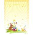 Happy Easter banner border Spring landscape bunny vector image