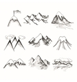 Mountain top icons vector image