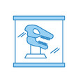 museum dinosaur skeleton in urn glass vector image