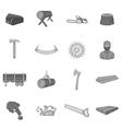 Timber industry icons set black monochrome style vector image