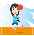 pretty woman athlete playing basketball vector image
