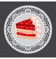 strawberry cake on gray vector image