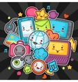 Kawaii gadgets social network items Doodles with vector image
