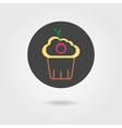 cupcake in black circle with shadow vector image