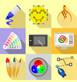 digital drawing icons set flat style vector image