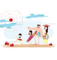 family on the beach vector image