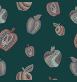 seamless pattern with abstract apples in doodle vector image