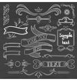 Set of vintage ribbons frames on a chalkboard vector image