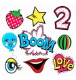 Set of quirky cartoon patch badges or fashion pin vector image