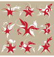 stylized star-bird set of emblem vector image vector image