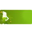 green banner with woman silhouette vector image vector image