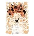 Calendar 2016 october month Season girls design vector image