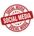 social media red grunge round vintage rubber stamp vector image