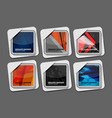 origami square banner set vector image