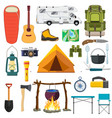 set of camping elements vector image