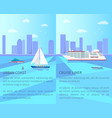 urban coast and spacious cruise liner posters vector image