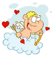 Cupid Boy with Bow and Arrow Flying in Cloud vector image