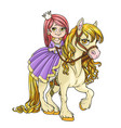 beautiful little princess riding on horse isolated vector image