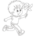 Boy with a whirligig vector image vector image