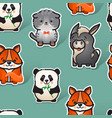 cute donkey fox cat and panda seamless vector image