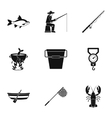 Hunting for fish icons set simple style vector image
