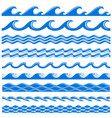 sea water waves seamless borders set vector image