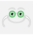 white drawing frog with green eyes vector image