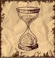 Sand glass clock isolated on vintage background vector image vector image