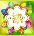 Multi colored easter eggs on a blurred green vector image