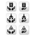 Religion buttons - hands with bible church eye vector image vector image