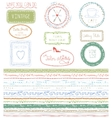 Doodle Hand drawn seamless line border with logo vector image