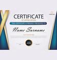 blue gold elegance horizontal certificate vector image