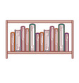 books stacked in shelf in colorful silhouette with vector image