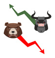 Bull and bear Traders allegory Green up vector image