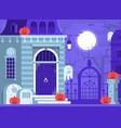 halloween scene with haunted house vector image