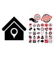 House Location Flat Icon with Bonus vector image
