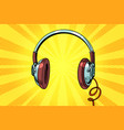 retro headphones on a yellow background vector image