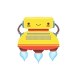 Yelllow Flying Friendly Android Robot Character In vector image