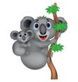 Mother and baby koala cartoon vector image